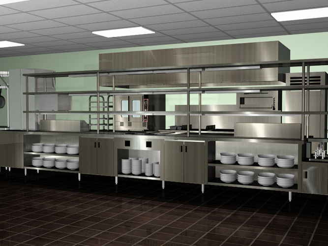 Amazing Modern Spacious Commercial Kitchen Design Chrome Color Design Viahouse Com